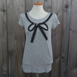 Ann Taylor LOFT Bow Tee Short Sleeve Small NWT